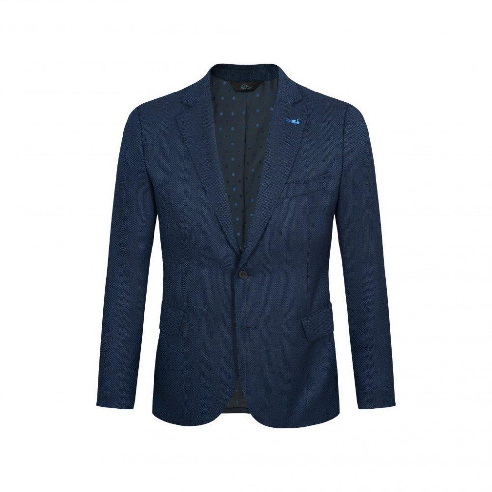 Saco azul micro diseño, silueta clásica y versátil con bolsillos de tapa.