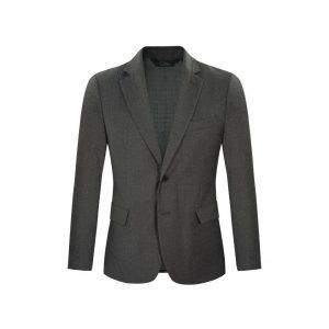 Saco gris en Flanel, dos botones con coderas en contraste. Regular fit elaborado con Lana 100% Italiana, fabricante Reda.