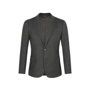 Saco gris jaspeado, dos botones y  bolsillos de tapa. Regular fit elaborado con Lana 100% Española, fabricante Lanitex.