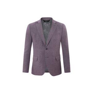 Saco informal morado jaspé, estructura clásica y versátil con bolsillos de tapa. Tejido 100% Italiano con tacto suave y confortable.