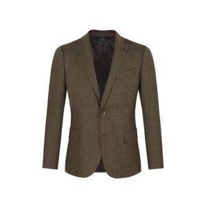 Saco tabaco jaspeado, dos botones y  bolsillos de tapa. Regular fit elaborado con Lana 100% Española, fabricante Lanitex.