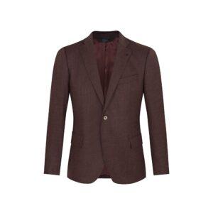 Saco vinotinto jaspeado, dos botones y  bolsillos de tapa. Regular fit elaborado con Lana 100% Española, fabricante Lanitex.