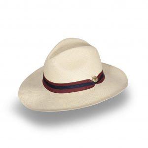 Sombrero elaborado en 100% Paja Toquilla de ala ancha y detalle de cinta combinada.