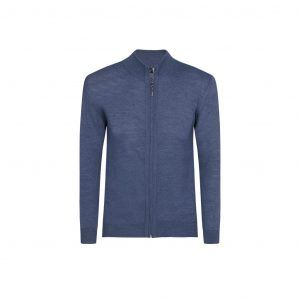 Suéter abierto azul medio cuello nerhú con cremallera.