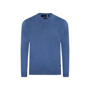 Suéter cerrado azul medio cuello v, tejido en lana merino Italiana.