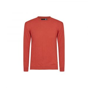 Suéter cerrado rojo claro cuello redondo, tejido en lana merino Italiana.