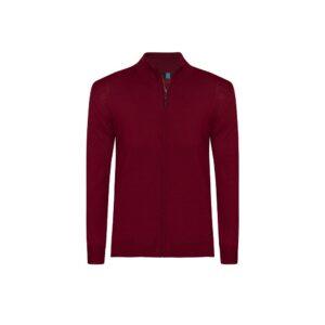 Suéter abierto rojo cuello nerhú con cremallera. Tejido en lana merino Italiana.