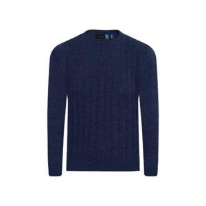 Suéter cerrado azul cuello redondo, 100% lana merino Italiana.
