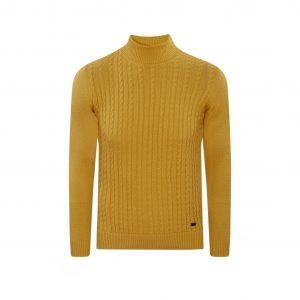 Suéter amarillo cuello tortuga trenzado, tejido en lana modal.