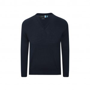 Suéter azul navy cerrado cuello en V, tejido en lana merino 100% Italiana.