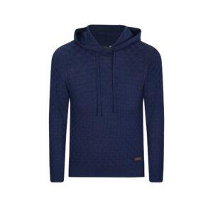 Suéter azul con capota. Tejido ajedrezado en lana merino 100% Italiana.