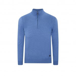Suéter azul cuello neru con cremamallera. Tejido en lana merino 100% Italiana.