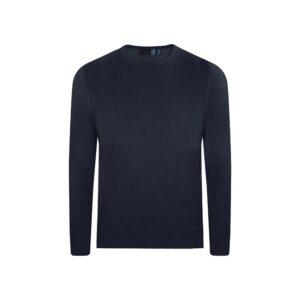 Suéter azul oscuro cuello redondo borde en rollo. Tejido mezcla acrilico/ modal.