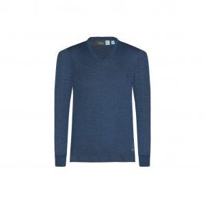 Suéter azul cerrado cuello en V de origen Italiano, tejido en lana merino.