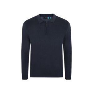 Suéter azul oscuro tipo polo con cremallera. Tejido mezcla acrilico/ modal.