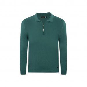 Suéter azul turquesa marino tipo polo con cremallera. Tejido en lana modal 100% Italiana.