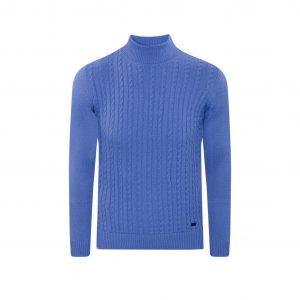 Suéter azul marino cuello tortuga trenzado, tejido en lana modal.