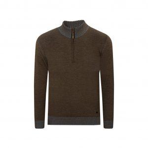 Suéter bicolor café/azul cuello neru con cremamallera. Tejido en lana merino 100% Italiana.