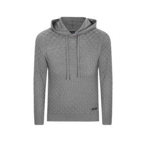 Suéter gris con capota. Tejido ajedrezado en lana merino 100% Italiana.