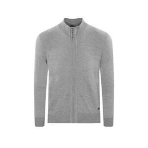 Suéter abierto gris medio cuello nerhú con cremallera. Tejido en lana merino Italiana.