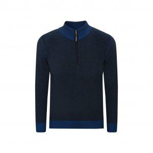 Suéter bicolor negro/azul cuello neru con cremamallera. Tejido en lana merino 100% Italiana.