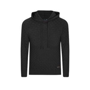 Suéter negro con capota. Tejido en lana merino 100% Italiana.