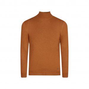 Suéter ocre cuello tortuga, tejido 100% algodón.