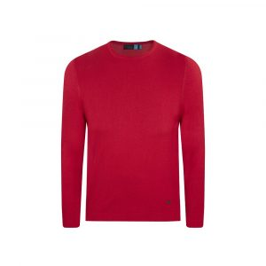 Suéter rojo cuello redondo borde en rollo. Tejido mezcla acrilico/ modal.