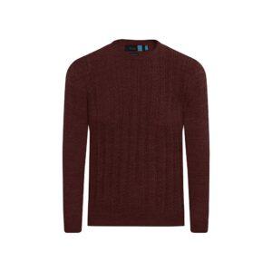 Suéter cerrado vino tinto cuello redondo, 100% lana merino Italiana.
