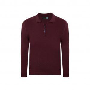 Suéter vinotinto tipo polo con cremallera. Tejido en lana modal 100% Italiana.