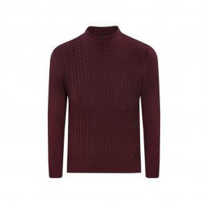 Suéter vinotinto cuello tortuga trenzado, tejido en lana modal.