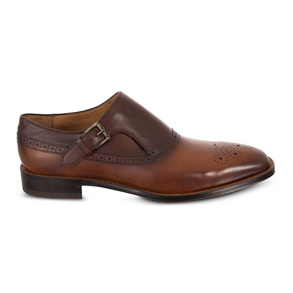 Zapato cognac esfumado con hebilla y sutil detalle chiripiado, en piel e insumos Argentinos.